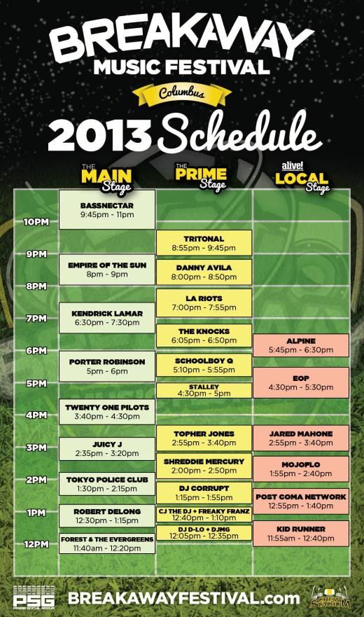 Breakway Festival Schedule